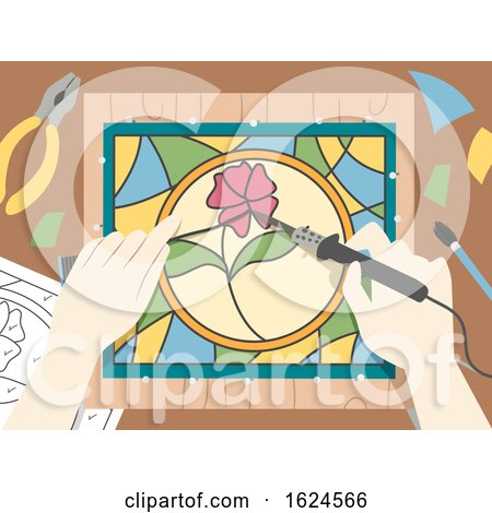 Hands Stained Glass Illustration by BNP Design Studio