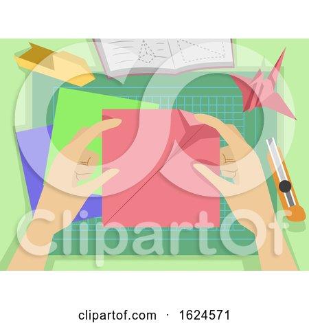 Hands Origami Making Illustration by BNP Design Studio