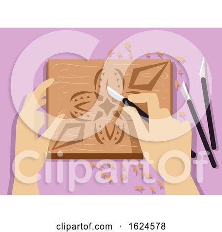 Hands Chip Carving Illustration by BNP Design Studio