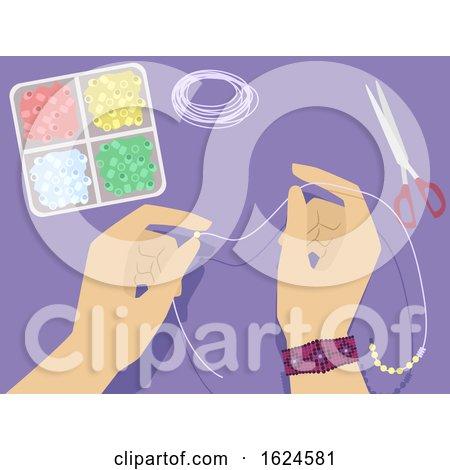 Hands Beads Crafts Illustration by BNP Design Studio