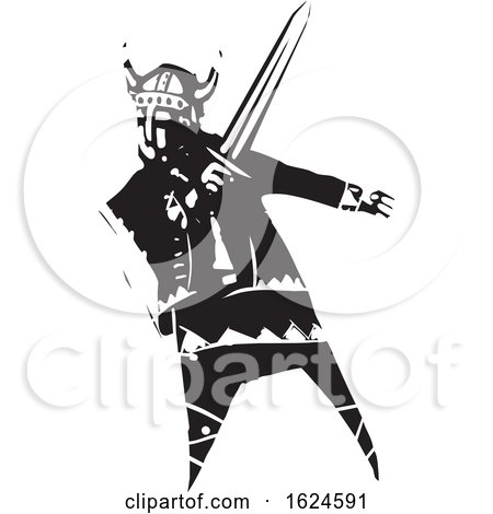 Woodcut Viking with a Sword by xunantunich