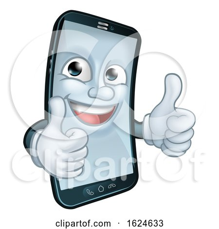 Mobile Phone Thumbs up Cartoon Mascot by AtStockIllustration