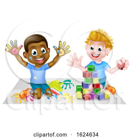 Cartoon Boys Playing with Toys by AtStockIllustration