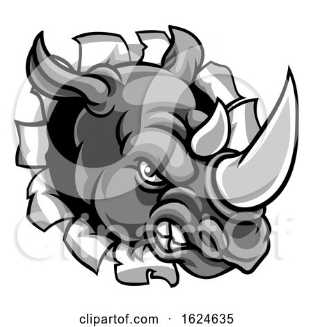 Rhino Mean Angry Sports Mascot Breaking Background by AtStockIllustration