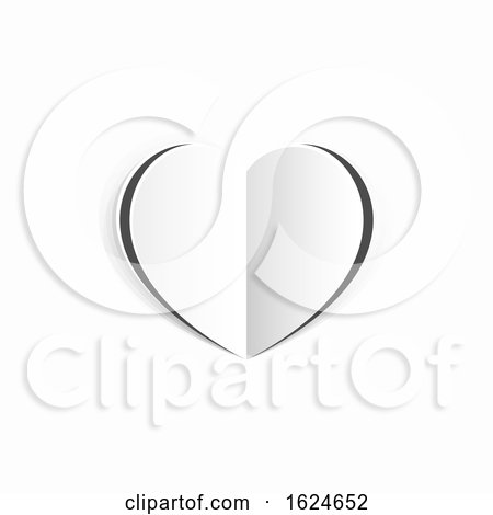 Valentines White Paper Heart Concept by AtStockIllustration