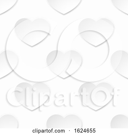 White Paper Valentines Heart Seamless Background by AtStockIllustration
