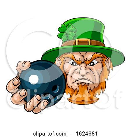 Leprechaun Holding Bowling Ball Sports Mascot by AtStockIllustration