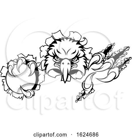 Eagle Baseball Cartoon Mascot Ripping Background by AtStockIllustration