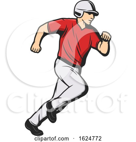 Baseball Player Running by Vector Tradition SM
