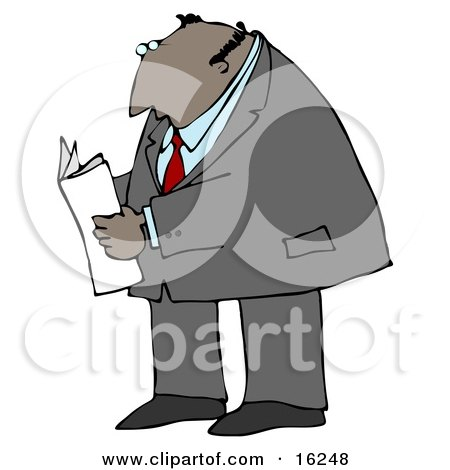 Latin Businessman Reading A Newspaper While Standing And Waiting  Posters, Art Prints