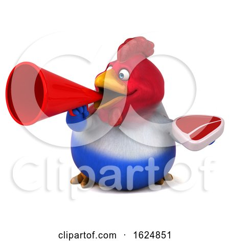 3d French Chicken, on a White Background by Julos
