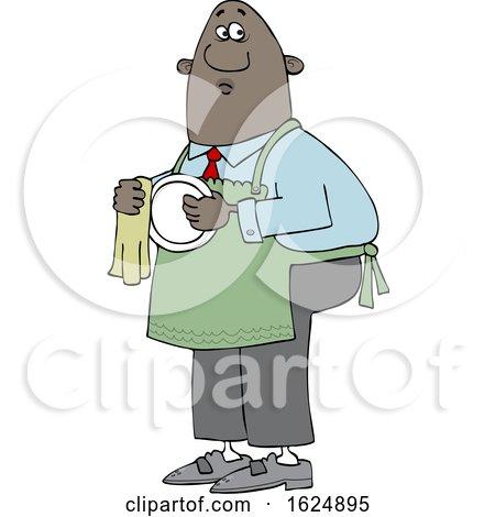 Cartoon Black Man Drying Dishes by djart