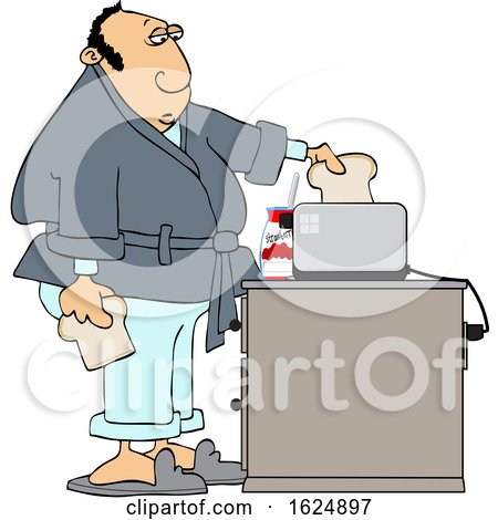 Cartoon White Man Putting Bread in a Toaster by djart