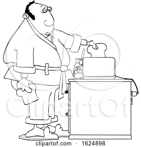 Cartoon Black and White Man Putting Bread in a Toaster by djart