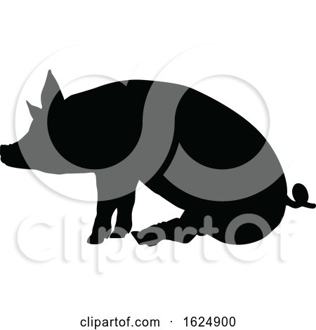 Pig Silhouette Farm Animal by AtStockIllustration
