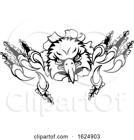 Eagle Cartoon Sports Mascot Ripping Background by AtStockIllustration
