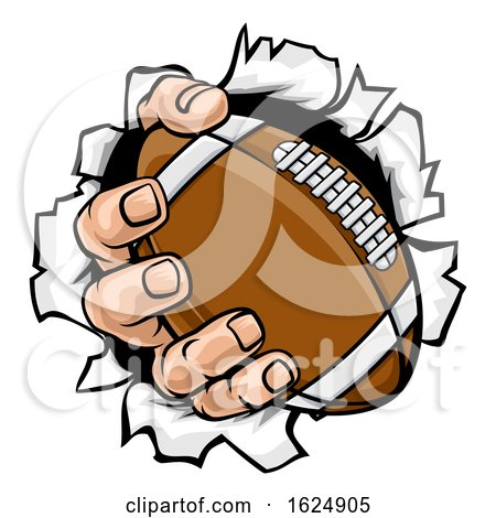 Football Ball Hand Tearing Background by AtStockIllustration