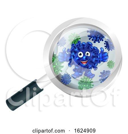 Bacteria Cartoon Mascot Under Magnifying Glass by AtStockIllustration