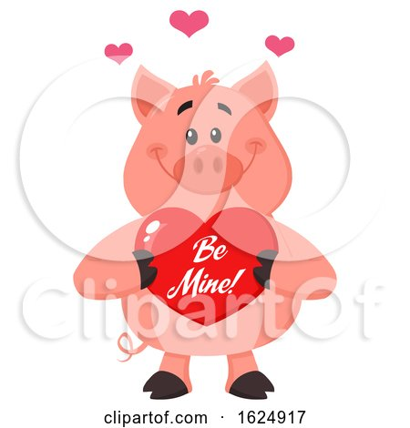 Happy Pig Holding a Be Mine Valentine Love Heart by Hit Toon