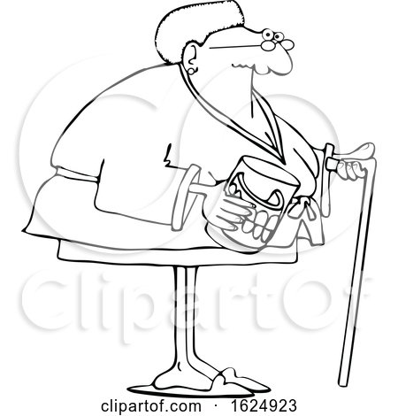 Cartoon Lineart Black Senior Woman with a Cane and Her Teeth in a Jar by djart