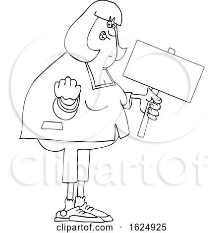 Cartoon Black and White Angry Chubby Woman Holding out a Fist and a Sign by djart