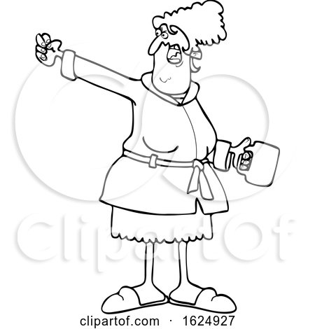 Cartoon Black and White Angry Woman in a Robe Holding Coffee and Waving a Fist by djart