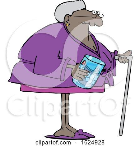 Cartoon Black Senior Woman with a Cane and Her Teeth in a Jar by djart