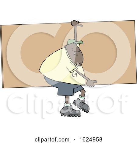 Cartoon Black Male Worker Carrying a Giant Board by djart