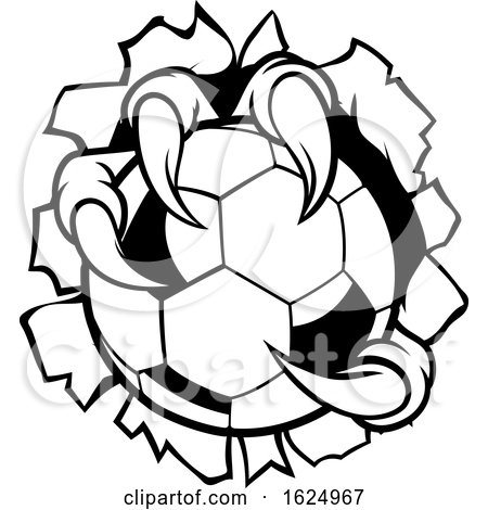 Soccer Ball Eagle Claw Talons Ripping Background by AtStockIllustration