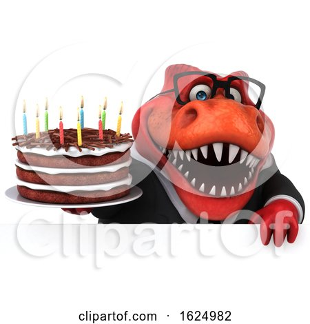 3d Red Business T Rex Dinosaur Holding a Birthday Cake, on a White Background Posters, Art Prints