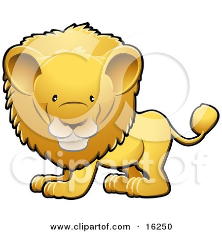 Adorable Golden Male Lion With A Big Mane Clipart Illustration by AtStockIllustration