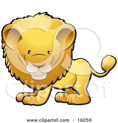 Adorable Golden Male Lion With A Big Mane Clipart Illustration by AtStockIllustration