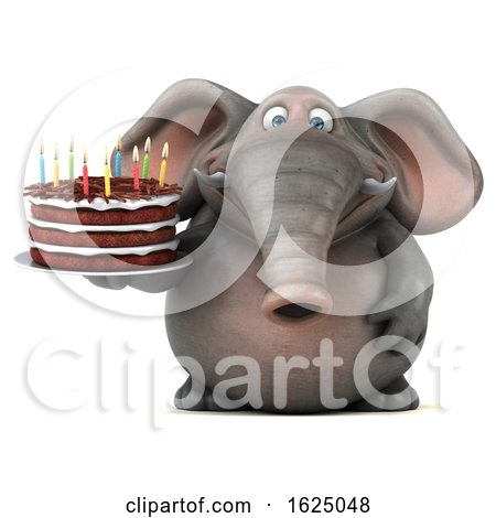 3d Elephant Holding a Birthday Cake, on a White Background Posters, Art Prints