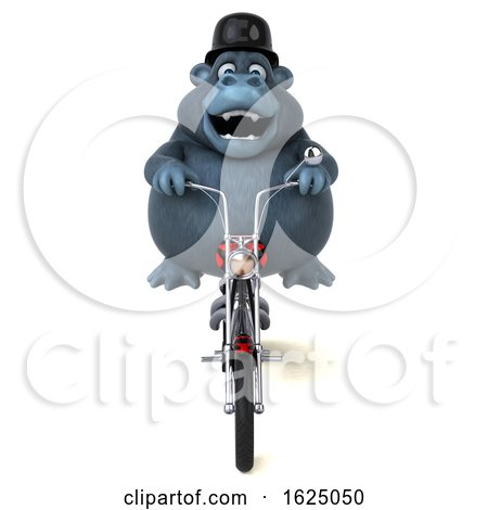 3d Gorilla Mascot Riding a Chopper Motorcycle, on a White Background by Julos