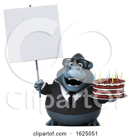 3d Business Gorilla Mascot Holding a Birthday Cake, on a White Background by Julos