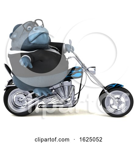 3d Business Gorilla Mascot Riding a Chopper Motorcycle, on a White Background by Julos