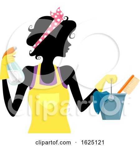 Girl Silhouette Spring Cleaning Illustration Posters, Art Prints