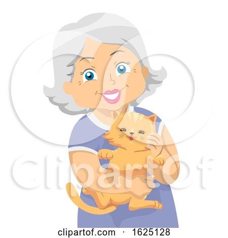 Senior Woman Carry Cat Pet Illustration by BNP Design Studio