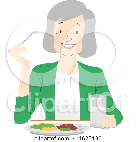 Senior Woman Eat Healthy Illustration by BNP Design Studio