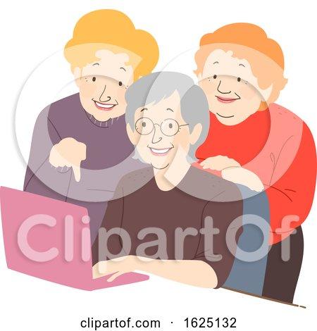 Senior Woman Friends Laptop Illustration by BNP Design Studio