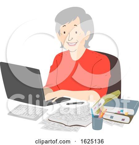 Senior Woman Writer Laptop Notes Illustration by BNP Design Studio