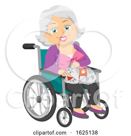 Senior Woman Service Cat Wheelchair Illustration by BNP Design Studio