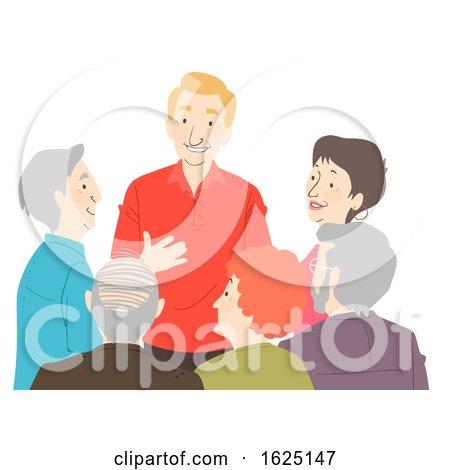 Seniors Citizen Group Talk Illustration by BNP Design Studio
