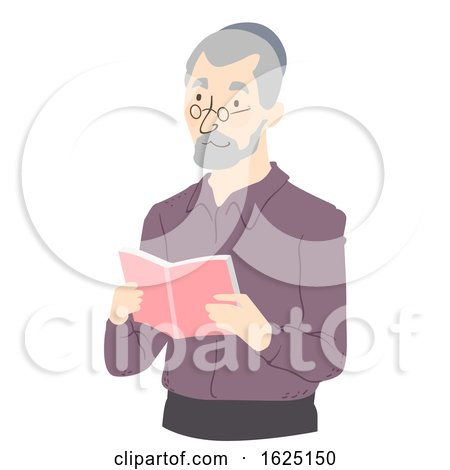 Senior Man Read Book Illustration by BNP Design Studio