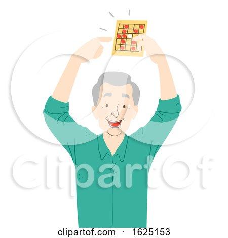 Senior Man Win Card Game Illustration by BNP Design Studio