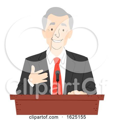 Senior Man Podium Speech Illustration by BNP Design Studio