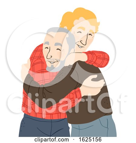 Senior Man Hug Illustration by BNP Design Studio