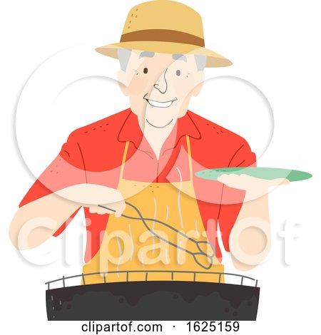 Senior Man Barbecue Illustration by BNP Design Studio