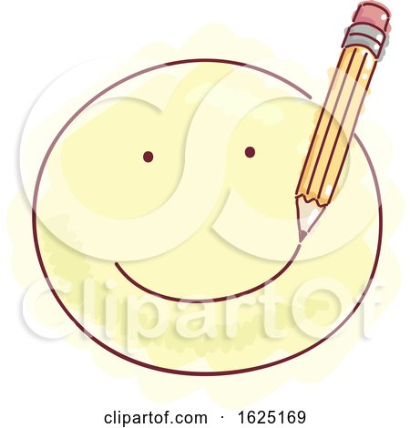 Pencil Draw Smiley Happy Emotion Illustration by BNP Design Studio
