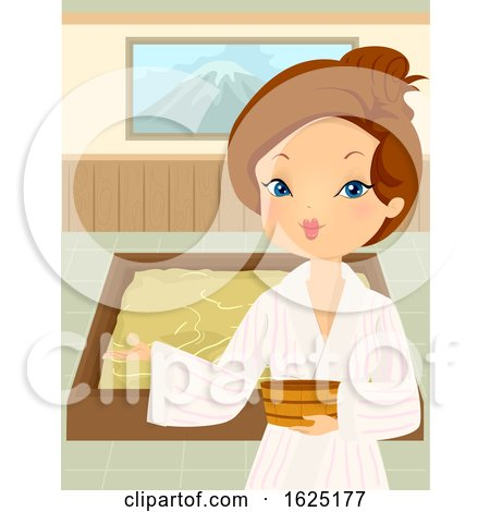 Girl Yukata Welcome Onsen Bath Indoor Illustration by BNP Design Studio